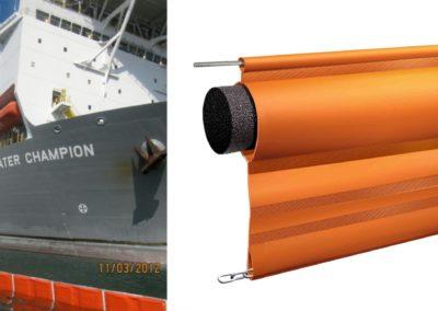 Barreras de contención tipo cortina y tipo valla con unidad flotante